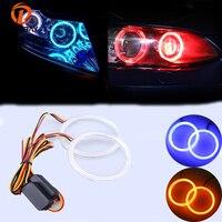 POSSBAY COB Halo טבעות בשעתי יום פנס מנורת 12 V רכב LED עיני מלאך אור כחול/אדום להפוך צהוב אזהרת אות אורות