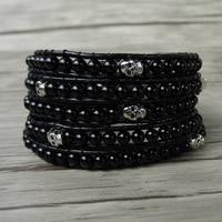 Black beads rap bracelet skull men beads bracelet leather wrap boho bracelet 5 wraps skull beads yga jewelry dropshipping