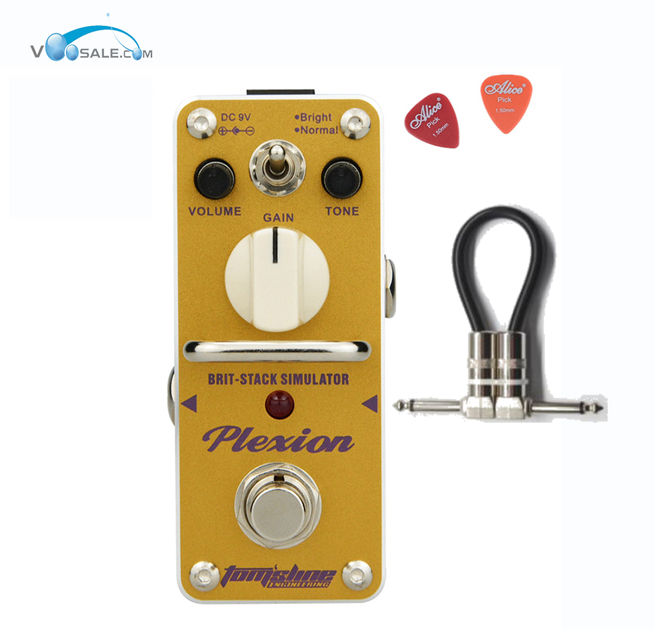 Aroma APN-3 Plexion Brit-stack Simulator Guitar Effect Pedal Yellow Color with True Bypass Guitarra Aluminium Alloy + Free Cable aroma asr 3 asr 3 shaper classic cabinet simulator mini digital guitar effect pedal aluminium alloy pedals with true bypass
