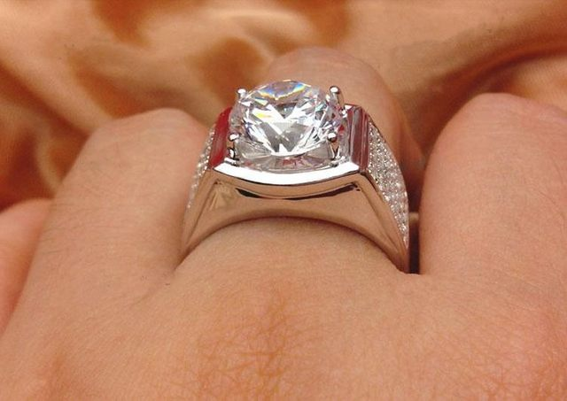 line Shop 5 Carat Top Luxury Big Man Ring Real Solid 18K White