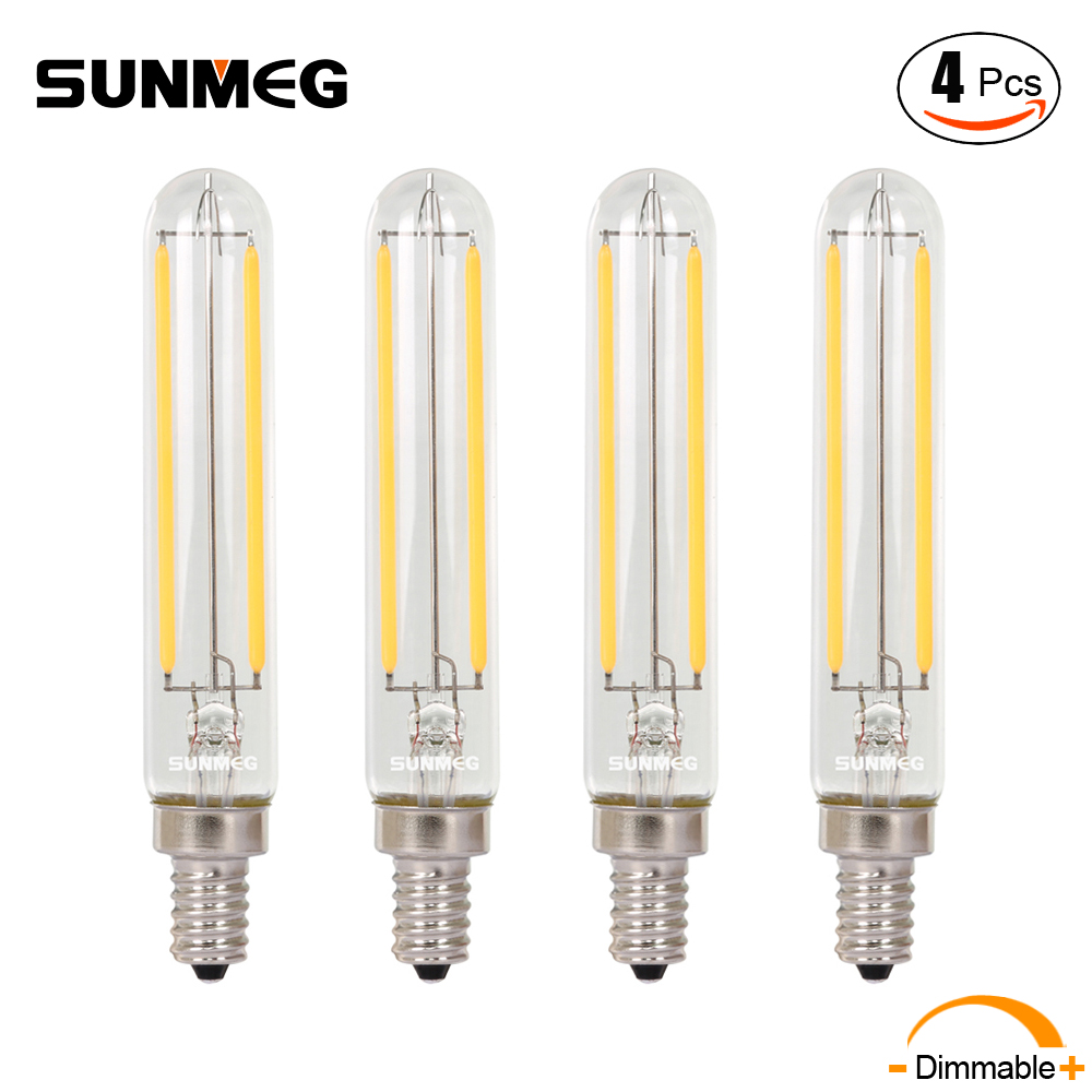 sunmeg 4pcs 4w tubular led candelabra bulbs e12 base t20120 dimmable 2700k 110v led