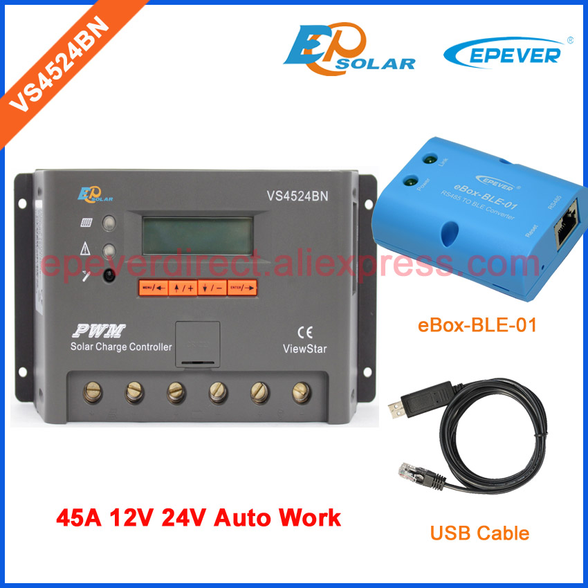 solar panel 45A 45amp charger controller PWM VS4524BN EPEVER USB commmunication cable and eBOX-BLE-01 12V 24V Auto Work vs4524bn 45a pwm controller network access computer control can connect with mt50 for communication