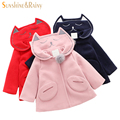Cute Cat Design Girls Wool Coat Navy Collar Winter Baby Girls Faux Fur Jackets and Coats Brand Clothes Fashion Kids Outerwear