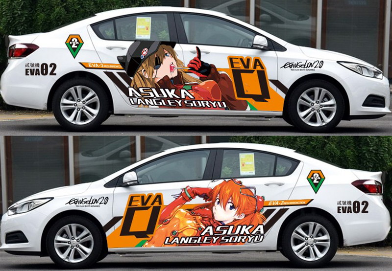 Autocollants de voiture de bande dessinée japonaise sur mesure Neon Genesis Evangelion Animation Dérive Autocollant Film de Protection Voiture Camouflage Stickers