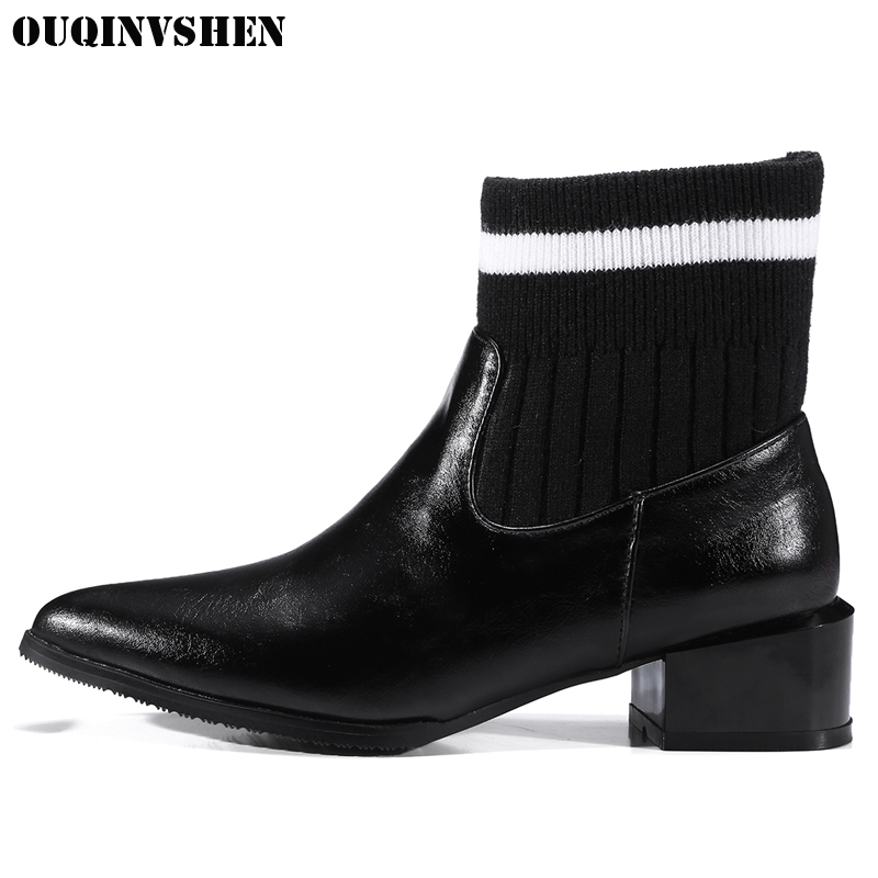 OUQINVSHEN Pointed Toe Square heel Womens Boots Casual Fashion Mixed Colors Women Ankle Boots Winter Joining Together Boots