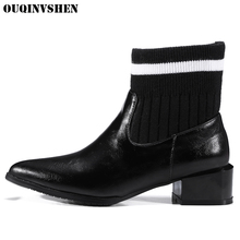 OUQINVSHEN Pointed Toe Square heel Women's Boots Casual Fashion Mixed Colors Women Ankle Boots Winter Joining Together Boots