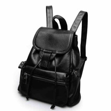 Womens simple draw belt buckle leather backpack New Europe and America travel shoulder bag