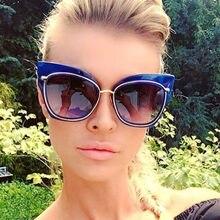 3b0ef576a626d Moda grande quadro tarja mulheres óculos de sol das mulheres marca designer  oversized cat eye óculos de sol senhora da moda espe.