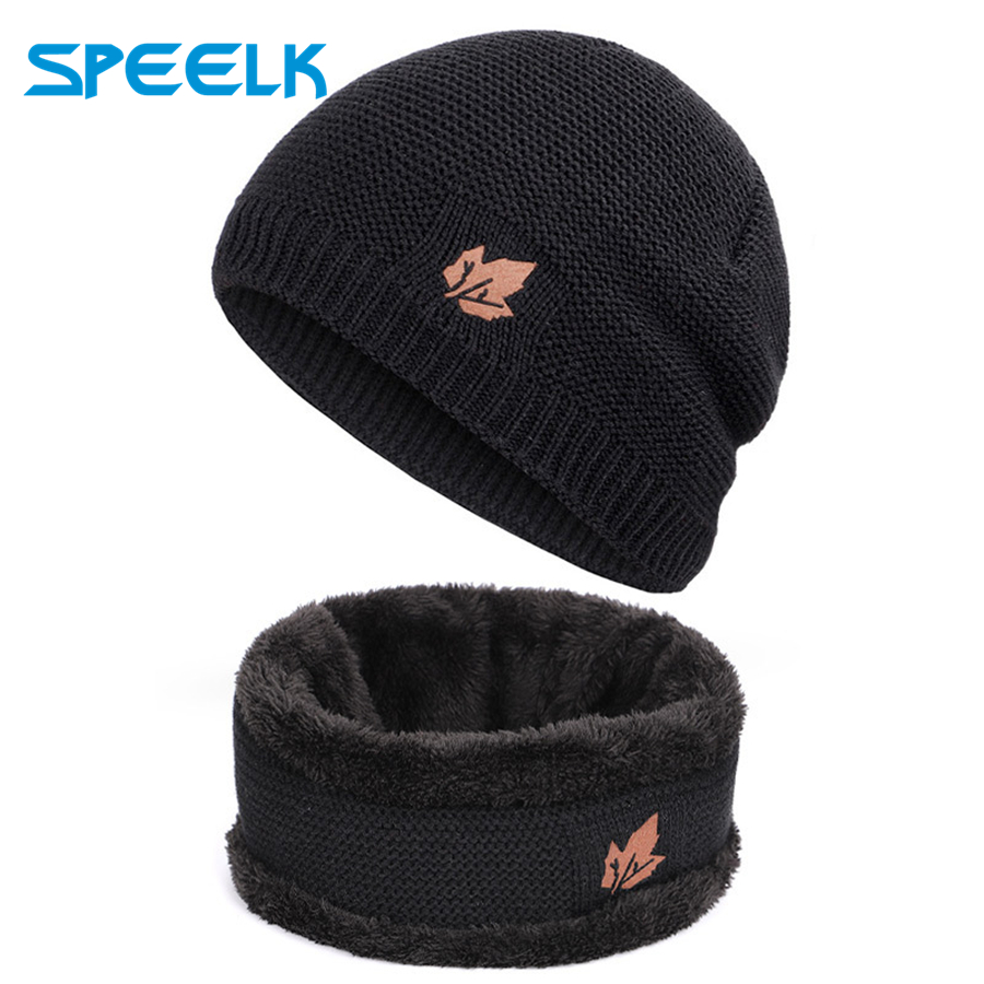 Winter Knitted Hats Men Leaf Leather Beanies Hat Women Warm Knit Velvet Outdoor Skullies Hats Winter Bonnet Beanies Caps