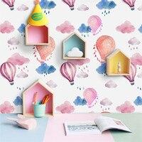 Hot Air Balloon Wall Sticker Cartoon Cute Girl Children Room Living Room Furniture Decor Self adhesive Removable Art Wallpaper