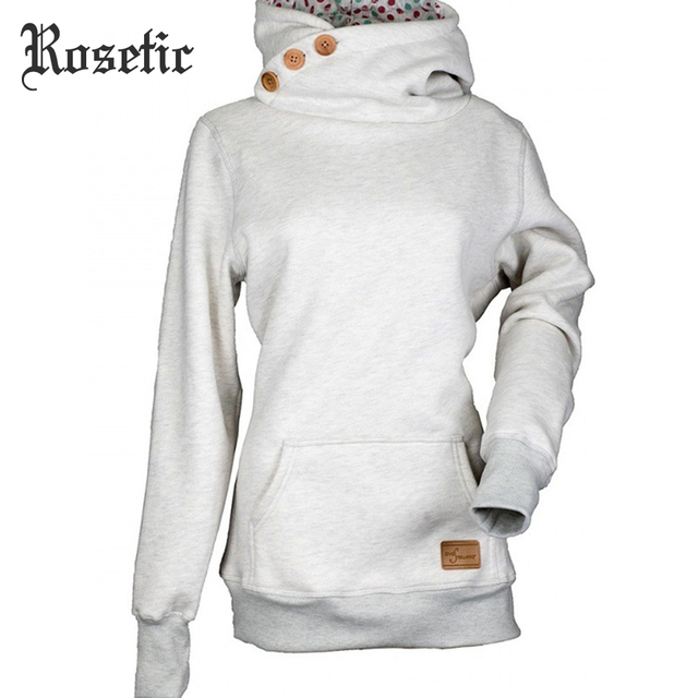 dd667ece37 Rosetic Casual Women Hoodie Sweatshirt ThinTurtleneck Buttons Long Sleeve  Pocket Plus Size Patchwork Warm Skinny Hot Hoodies