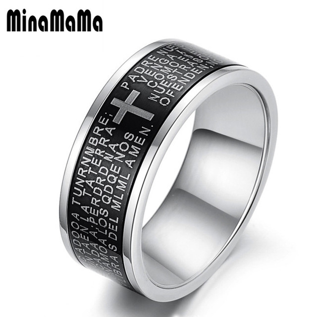 New Fashion Jewelry Black Stainless Steel Rings For Men Cross Male His Promise Ring