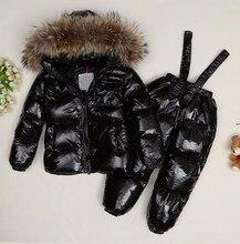 Winter Jacket For Girls Boys Children Clothing Sets Duck Down Coat Pants-Jacket Bib Hooded Baby Boys Girls Warm Coat Outerwear