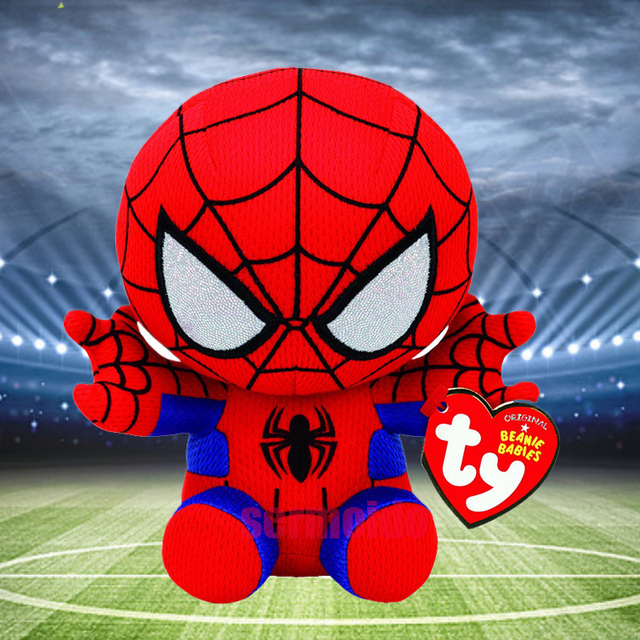 TY 15cm Beanie Boos Plush Toy Marvel The Avengers Spiderman Captain America  Stuffed Animal Kids Toy Christmas Gift 3eb176cdc079