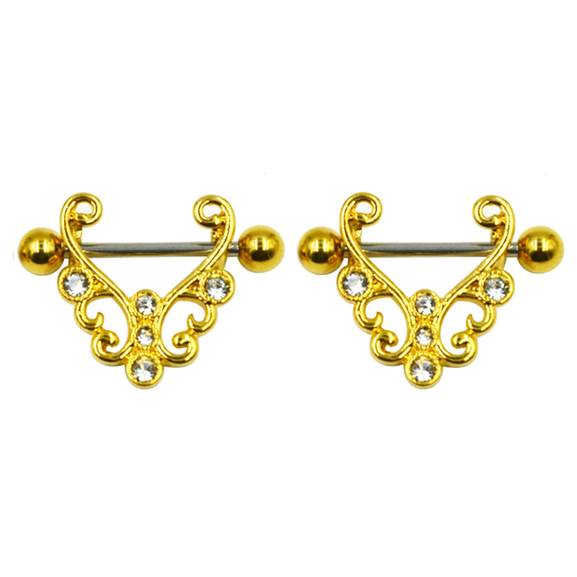 49deea441df082 PAIR Surgical Steel CZ Crystal Gold Nipple Ring Stirrup Barbell Piercing  Shield Jewelry 14g