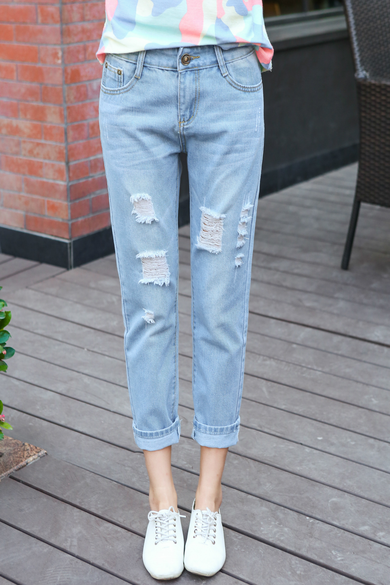2017 New Autumn Summer Women Boyfriend Jeans Loose Straight Ripped ...