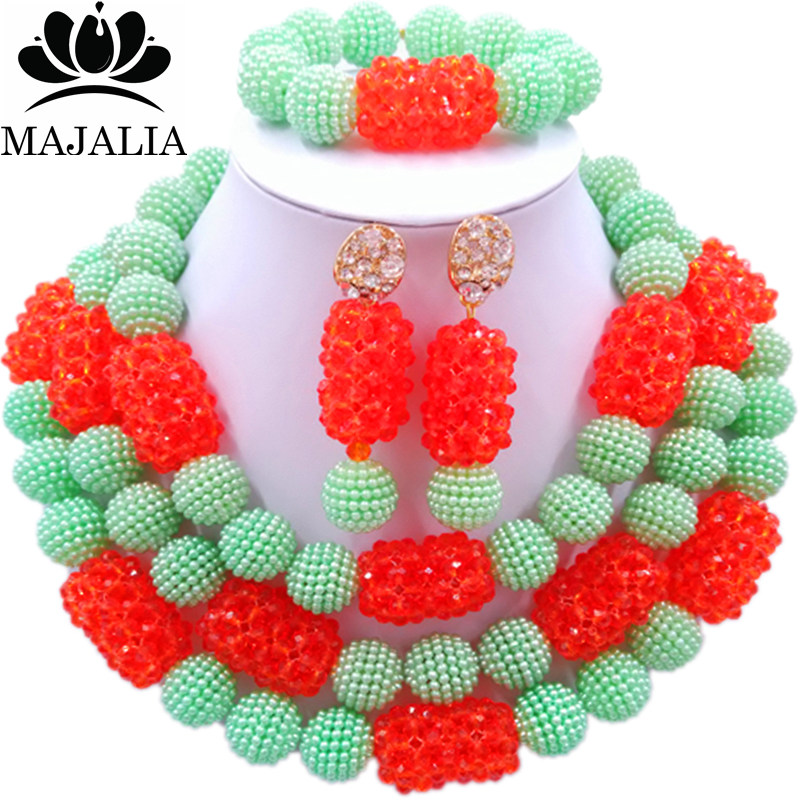 все цены на Majalia Fashion Charming Nigerian Wedding African Jewelry Set Light Green and Orange Crystal Necklace Bride Jewelry Sets 3SZ088 онлайн