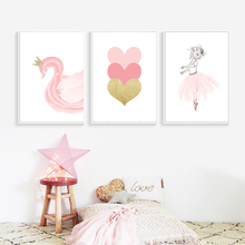 Nordic Style Ballet Girl Heart Swan Canvas Painting Home Wall Art Prints Watercolor Picture Modular Poster For Living Room Decor