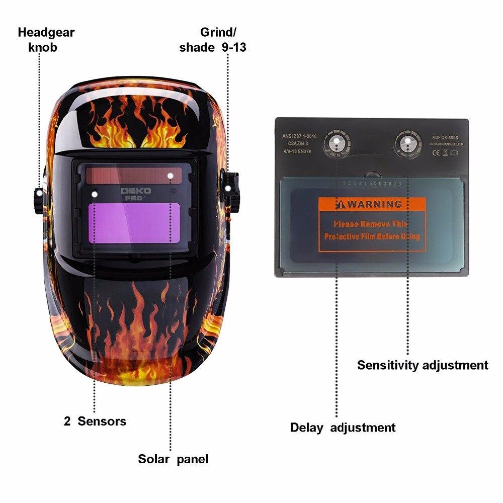 DEKO 2019 новая сварочная маска череп Солнечная Авто Затемнение регулируемый диапазон 4/9-13 электрический шлем сварочный объектив для сварочног...