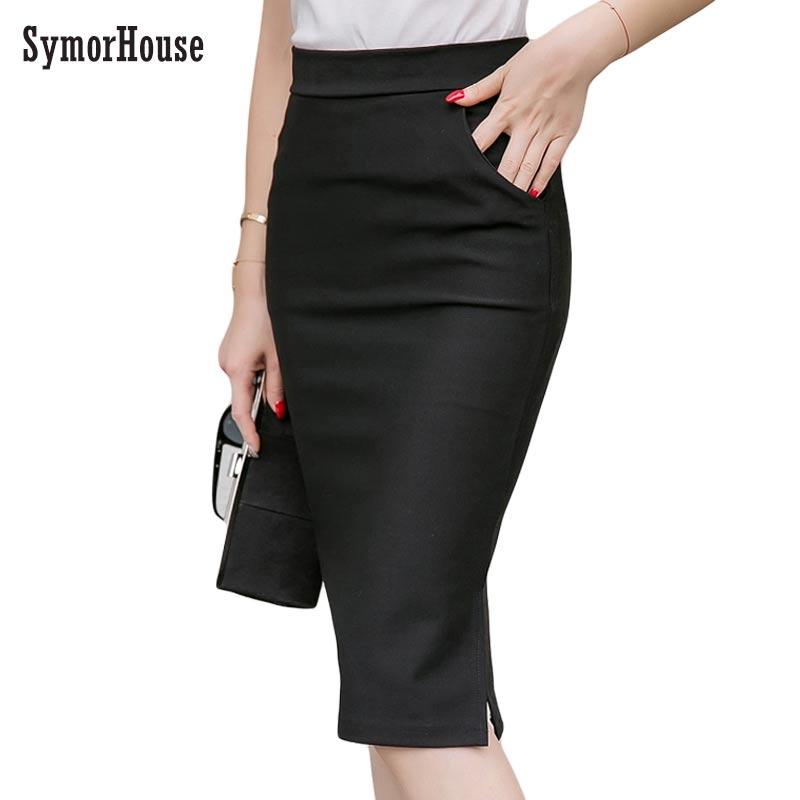 Elegant High Waist Pencil Skirts Women Plus Size Bodycon Open Slit Ladies Office Skirt Casual Ol Slim Knee Length Pockets Skirt pencil skirt