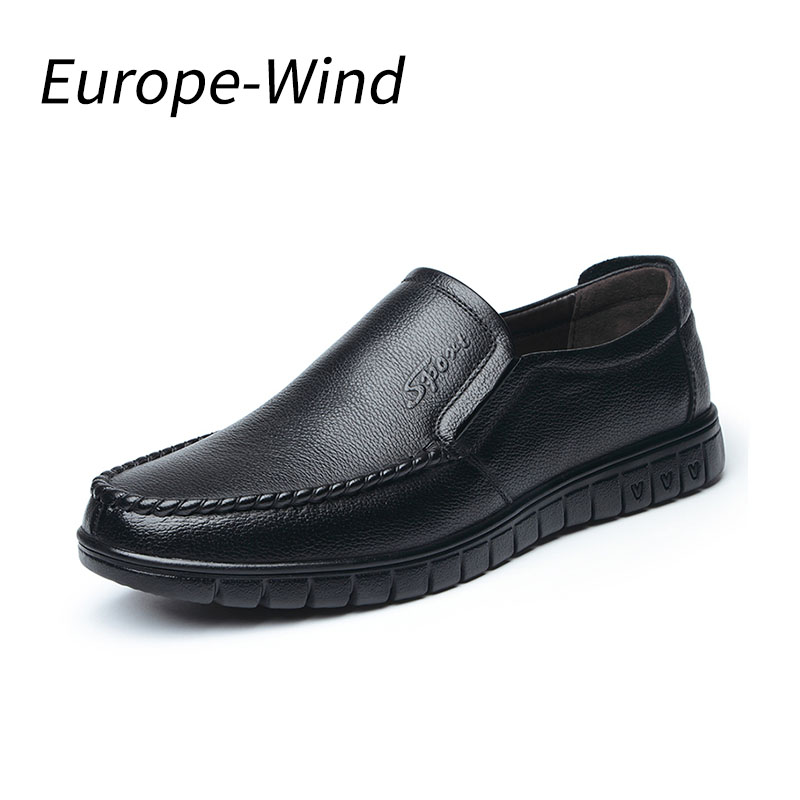 EuropeWind New Fashion Men brand Casual Shoes;Man shoes leather genuine handmade Rubber Waterproof shoe for Spring and Autumn hot sale mens italian style flat shoes genuine leather handmade men casual flats top quality oxford shoes men leather shoes