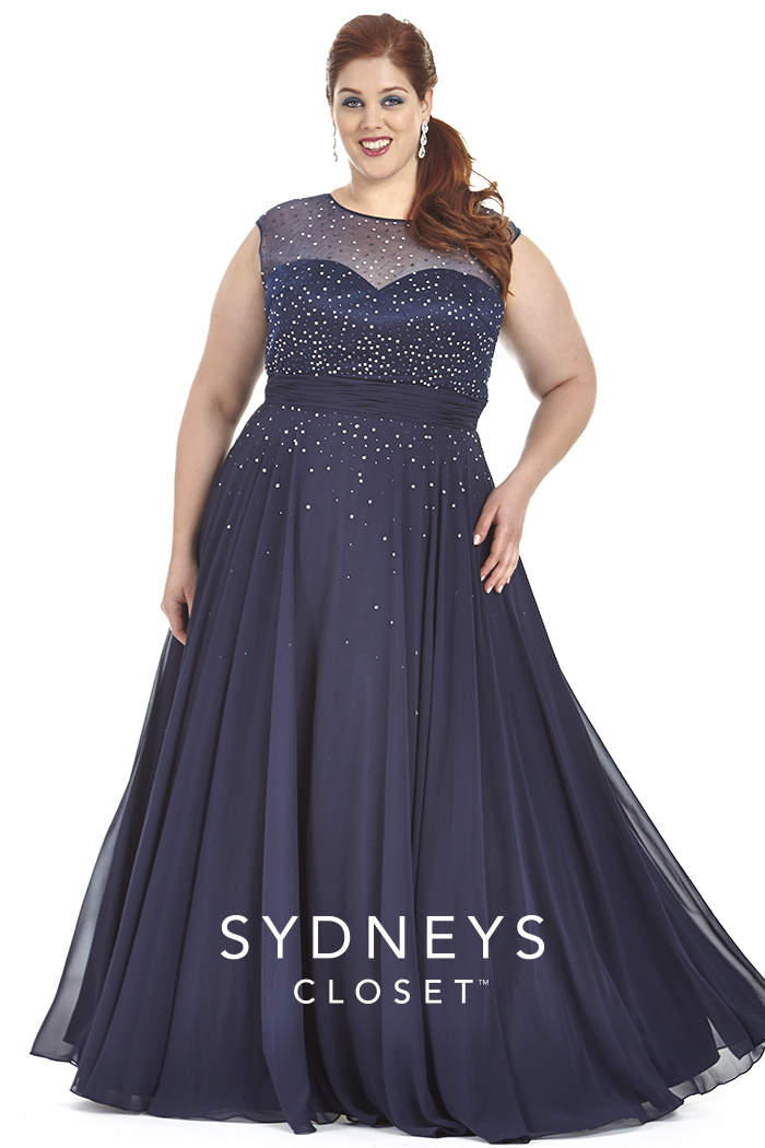 Dark Blue 2017 Crystal Beads Evening Dresses Plus Size