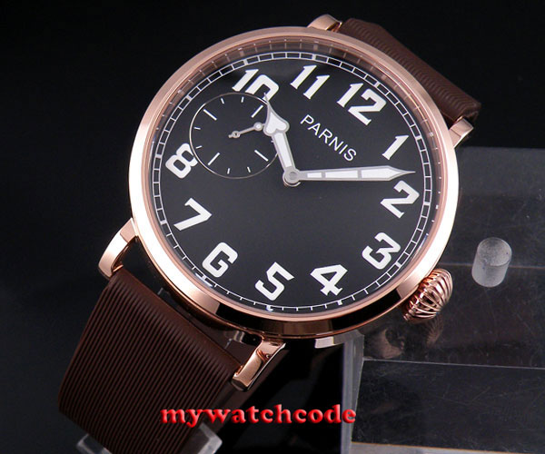 46mm parnis black dial Rose Golden 17 jewels 6497 hand winding mens watch P127 цена и фото