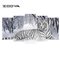 ZOOYA 5D DIY Diamond Embroidery Tiger 5 PCS Diamond Painting Cross Stitch Full Drill Rhinestone Mosaic