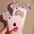 Casos para iphone 5 5s se/6 6 s/6 6 s plus/7/7 plus 3D Mickey Mouse Ear Cristal Rhinestone Orelhas Macio TPU Transparente Voltar cobrir