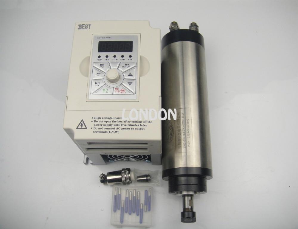 Kit mandrino CNC ER11 800W Mandrino di raffreddamento ad acqua ER11 + punte per incisione cnc + inverter 1,5KW