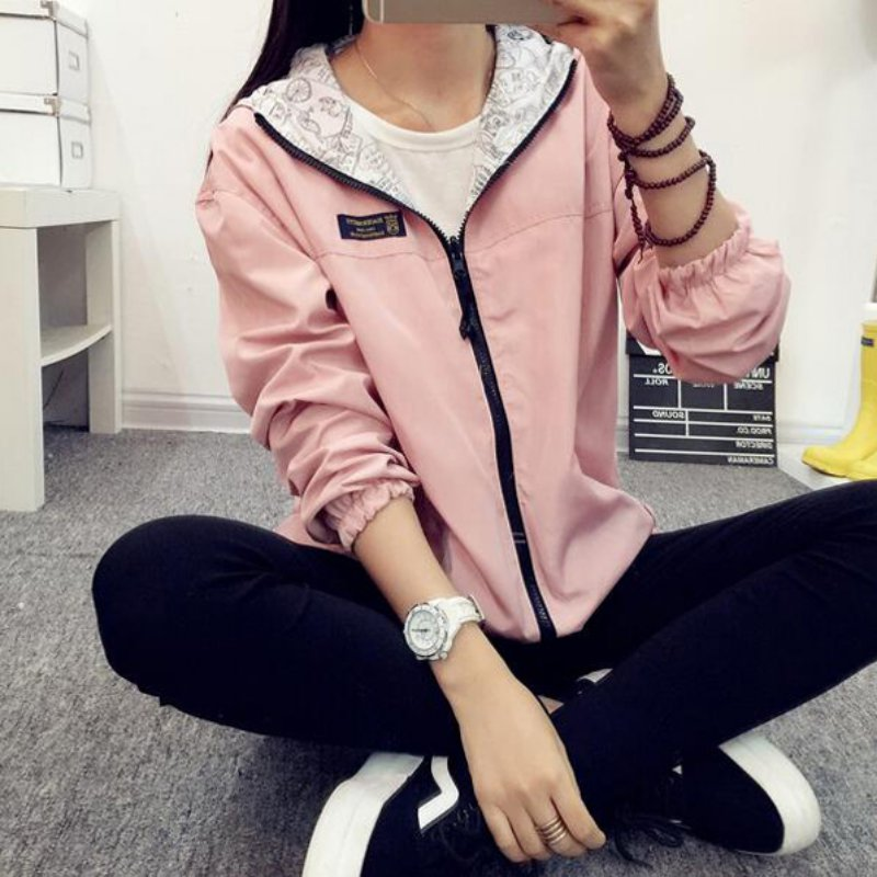 Spring Autumn 2017 Fashion Women Jacket Coat Pocket Zipper Hooded Two Side Wear Cartoon Print Outwear Loose Plus Size 1