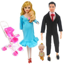 4-5People Family member Doll Suits Mom/ Dad/ Son Baby/ lili/kaite/Baby carriage Girls Toys Fashion Pregnant Doll Kid Toys gonlei mom baby strollerl pregnant doll suits mom doll have a baby in her tummy for barbi doll family for barbe girls gift toy