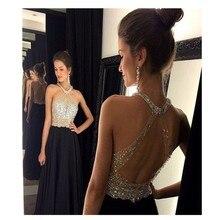 2016 Elegnat schwarz mit Luxus Perlen Prom Kleid Sexy Backless Chiffon Frauen Abendkleid Benutzerdefinierte Vestido De Festa