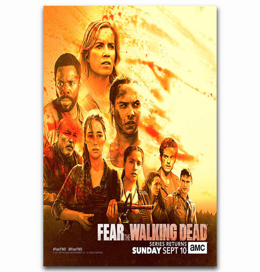 Art Print Hot New Fear The Walking Dead 2017 TV series Season 3 14x21 24x36  27x40 Inch Silk Poster Wall Canvas Decoration X-43