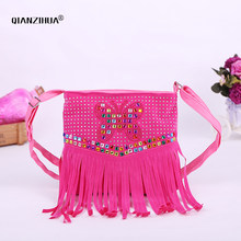 Kids Girl Diamond Clutch Bags Butterfly Cute Cross Body Shoulder Bags for girls tassel Schoolbags coin purse messenger bag girl(China)
