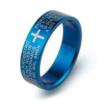 Classic Biblical Cross Ring 316L Titanium Steel Jewelry Cool father Fr. Finger Rings blue women Men's Three Colors image