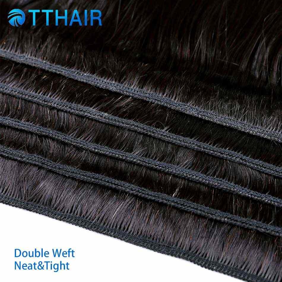 TTHAIR Малайзии 3 Связки с кружевом Закрытие естественный Цвет 100% человеческих волос не Реми прямые волосы Связки с закрытием