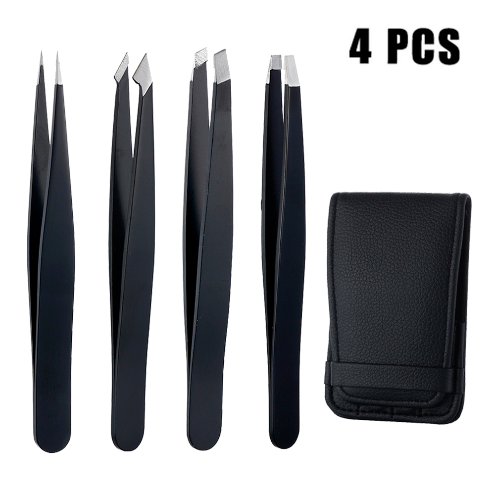 4Pcs Anti-static Stainless Steel Tweezers Maintenance Tools Industrial Precision Straight Tweezers Repair Tools For Eyebrow DIY