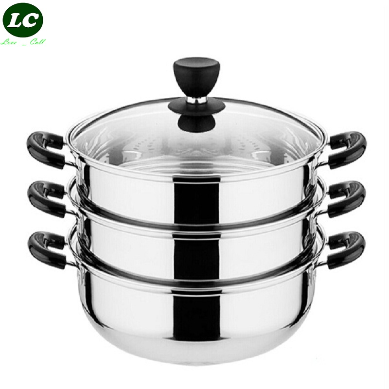 Cooking Pot Steamer ~ Cm large stainless steel steamer with glass cover