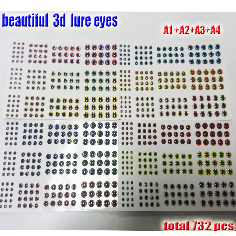 2017fishing 3d lure eyes A1A2A3A4 you choose size 3mm4mm5mm6mm quantity:732pcs/lot beautiful fish eyes high quality artificial(China)