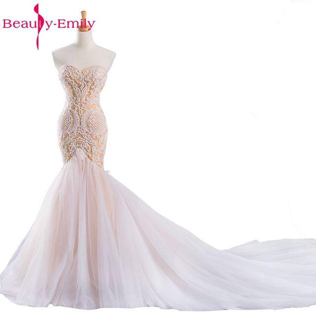 Schönheit Emily Weiß Champagner Brautkleider 2017 Koreanische Luxus ...