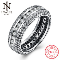 INALIS Fashion Jewelry Luxury CZ Crystals 925 Sterling Sliver Wedding Female Round Rings Accessories Gift For