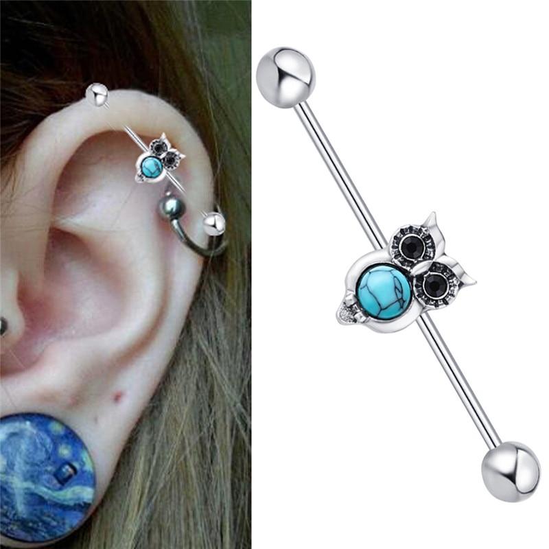 Eule Studing Ohr Mode Knorpel Piercing Edelstahl Ohrringe Anti-allergische Ohrring Tier Schmuck für Frauen EEA001