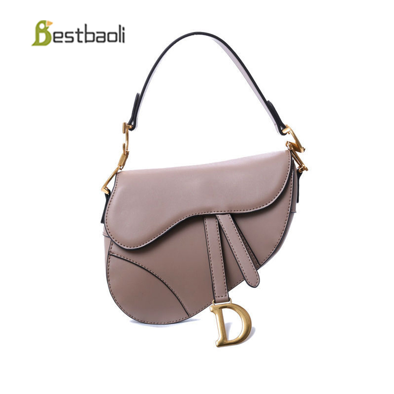 Bestbaoli Cowhide Luxury Handbags Women Bags Designer Fashion Saddle Shoulder Bag For Ladies High Quality Bags for Women's 2018