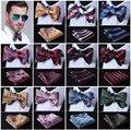 Paisley Floral Stripe 100%Silk Jacquard Woven Men Butterfly Self Bow Tie BowTie Pocket Square Handkerchief Hanky Suit Set #D7