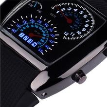 Novel design OL watch   Fashion Aviation Turbo Dial Flash LED Watch Gift Mens Lady Sports Car Meter female yj Dropshipping