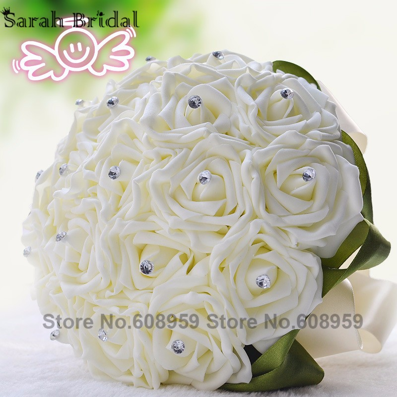 667c70595e High Quality Customized Crystal Cheap Wedding Accessories Silk PE Rose  Flower Red Wedding Bouquet Bridal Bouquet Supplies WF002-in Wedding  Bouquets ...