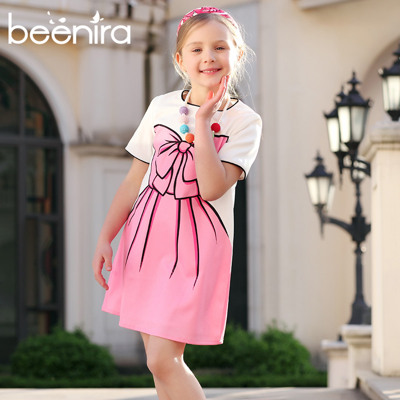Beenira Girl Short Sleeve Dress European and American Style 4-14Y 2017 New Summer Style Kids Pink Party Dress Big Bow-knot Print 3 4 sleeve tribal print shift mini dress