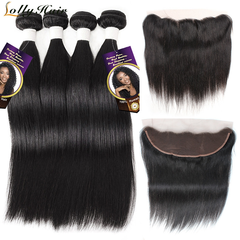 Lolly Indian Straight Human Hair Bundles With Frontal Remy Hair Extensions Ear To Ear Lace Frontal Closure With Hair Bundles