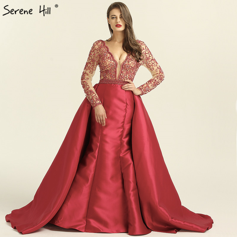 55b1f73cb8f Rose Red Long Sleeves Mermaid Satin Evening Dresses Pearls Beading Deep-V  Sexy Fashion Evening Gowns 2019 Serene Hill LA6312